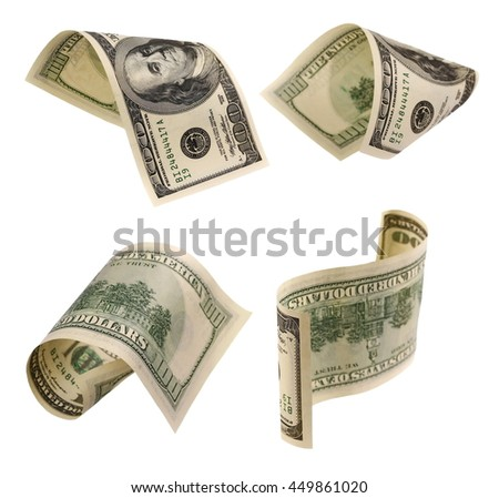 Set of flying hundred dollars banknotes isolated on white