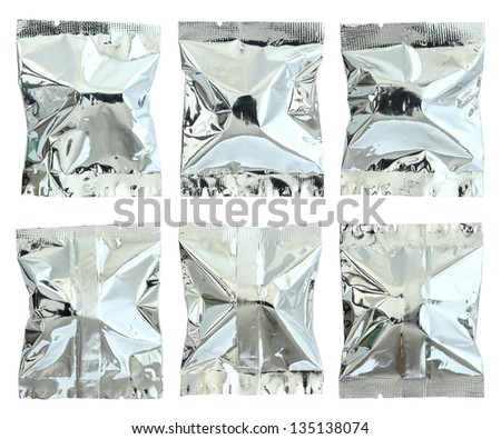 set of foil package bag isolated on white with clipping path - stock photo