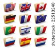 Set 1 of folders icons with world flags. Isolated raster version (contain the Clipping Path of all objects) - stock
