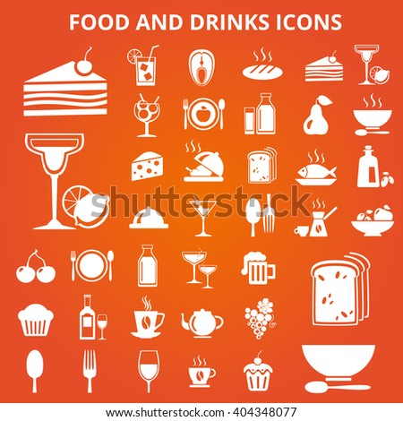 Set of food and drink icons. Food and drink icons set illustration. Food and drink icons set jpeg