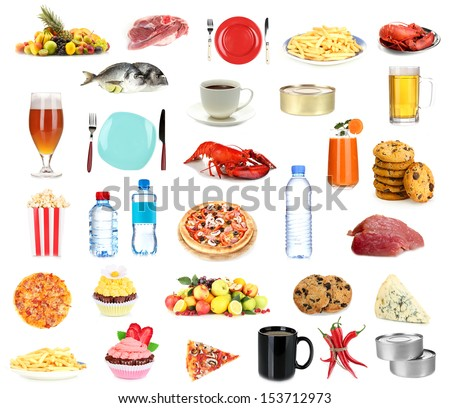 Set of food and drinks isolated on white