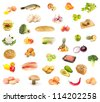 set of food, fruit and vegetables isolated  on a white background - stock photo