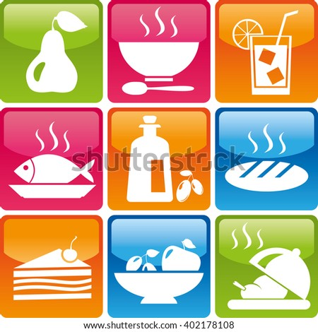 Set of food icons: pear, soup, plate, spoon, ice, drink, fish, olive oil, bread, cake, sweets, fruit, hot chicken. Food and drink icons jpg. Food and drink organic. Food and drink Logo set - stock photo