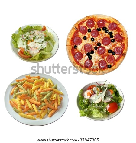 set of food - pizza, salat and pasta