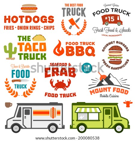 Set of food truck graphics and truck illustration - stock photo