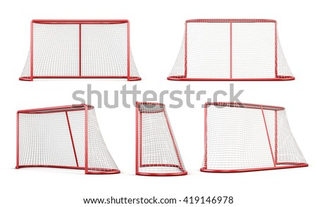 Set of football goal isolated on white background. 3d rendering. - stock photo