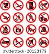 Set of forbidden signs, vector illustration - stock vector