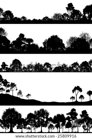Set of foregrounds of woodlands. Vector file available.