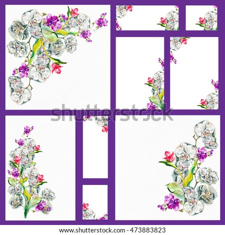 Set Of Forms For Congratulations, Invitations, The Menu .Exotic Bouquet  With Orchids.  Invitation Forms