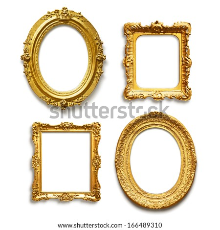 Set of four antique golden frames on white background - stock photo
