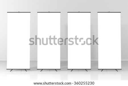 Set of four blank roll up posters - vertical billboard for text - stock photo