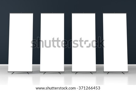 Set of four blank roll up posters - vertical billboard for text on dark purple background