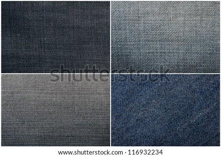 Set of four blue jeans texture - stock photo