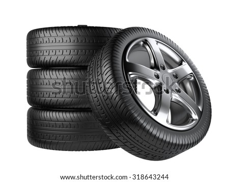 Set of four car wheels front view isolated on a white background - stock photo