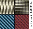 Set of Four Carbon Fiber, Kevlar and Decorative Fabric Seamless Patterns. Rasterized Version - stock photo