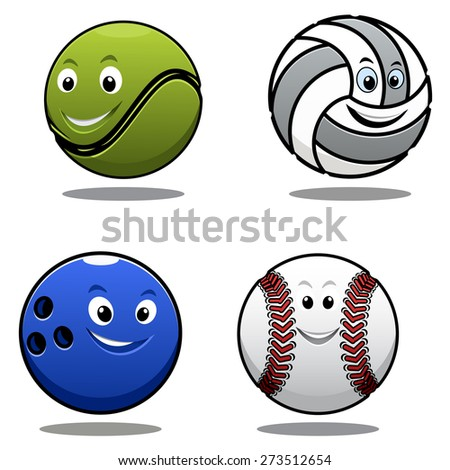 Set of four cartoon sports balls including a tennis ball, volley ball, cricket ball and bowls with smiling happy faces - stock photo