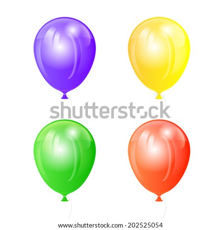 Set of four colored balloons isolated on white background, illustration.