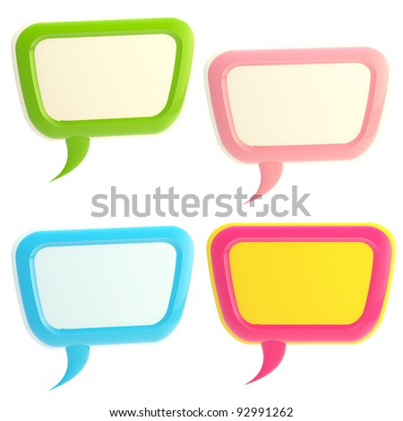 Set of four colorful glossy text bubbles isolated on white