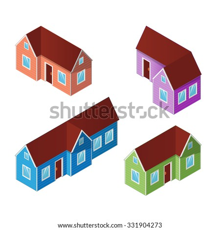 Set of four colorful isometric houses, building icons isolated on a white background. Isometric illustration.