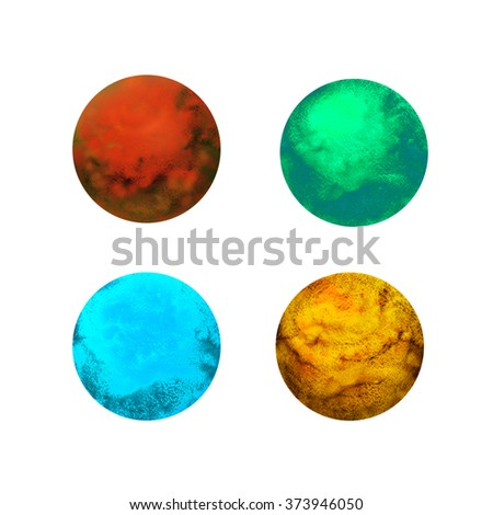 Set of four colorful watercolor hand drawn planets. Space planets isolated on a white background. Vibrant colored planets. - stock photo