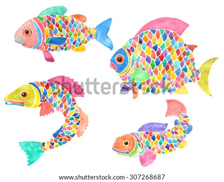 Set of four creative fishes with multicolored scales, fins and tails. Hand-painted watercolor illustration. Isolated on white background.