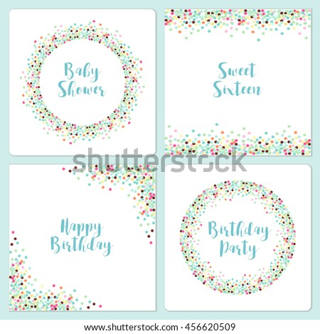 Set Four Cute Confetti Frames Your Stock Illustration 456620509 ...