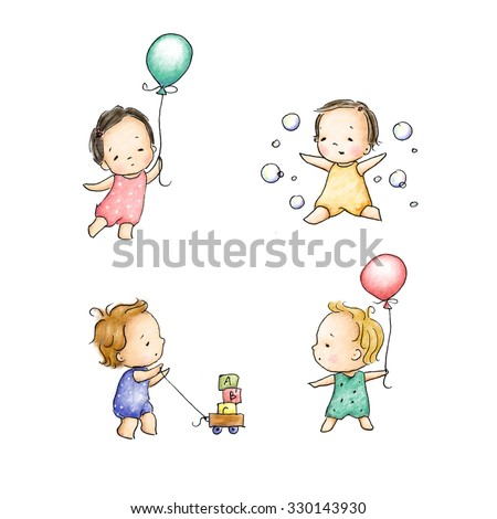 set of four cute kids on white background - stock photo