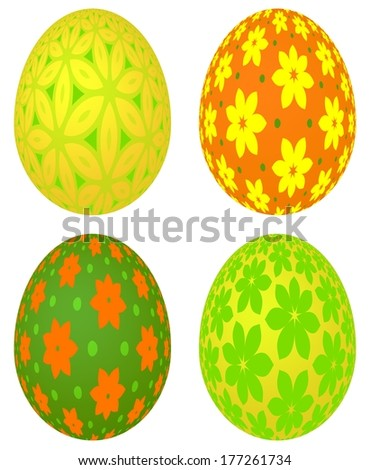 Set of four decorative colored Easter eggs with different beautiful floral patterns, isolated on the white background. - stock photo