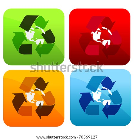 Set of four different buttons with recycling sign.