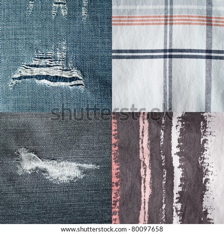 Set of four different fabrics - stock photo