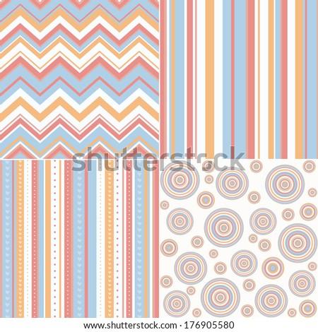 set of four different retro seamless pattern  - stock photo