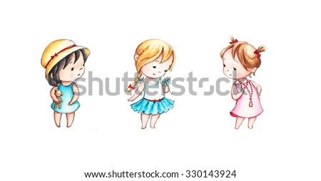 set of four drawings of little girls - stock photo