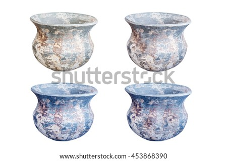 set of four earthenware isolated on white background - stock photo