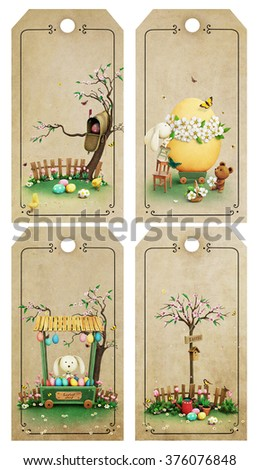 Set of four Easter tags with rustic scenes - stock photo