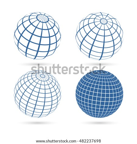 Set of four frame planet sphere icons. Isolated on white background.