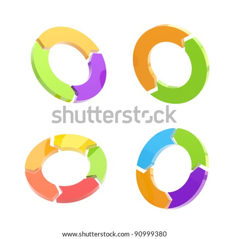 Set of four glossy circled arrow signs isolated on white