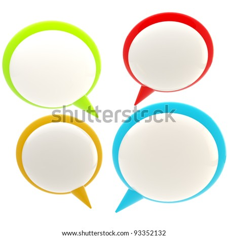 Set of four glossy text bubbles isolated on white