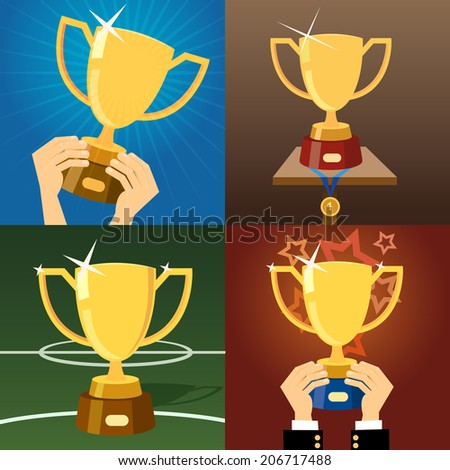 Set of four gold trophies or cups awarded for excellence  victory or winning in business  sport  a competition or contest with two held in hands  one trophy with a medal and one on a plinth - stock photo