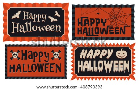Set of four Happy Halloween typographic banners in orange and black framed with a rosette border