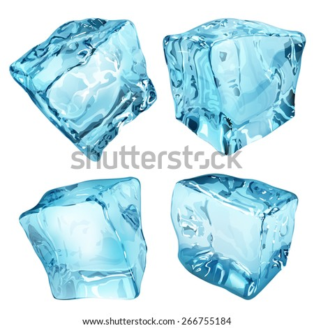 Set of four ice cubes in light blue colors - stock photo
