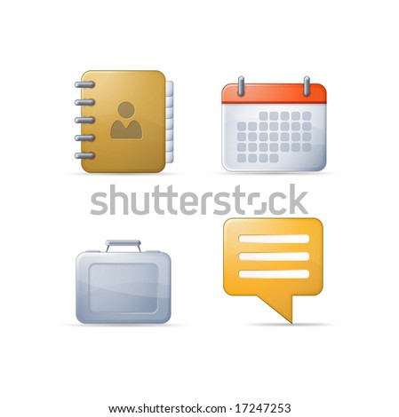 Set of four icons: Address Bookk, Calendar, Suitcase, Chat