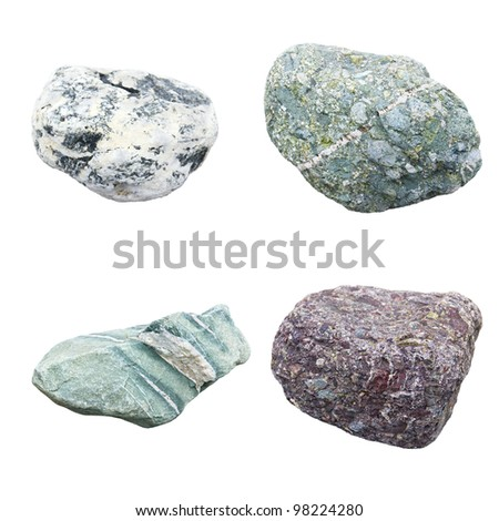 set of four minerals on a white background