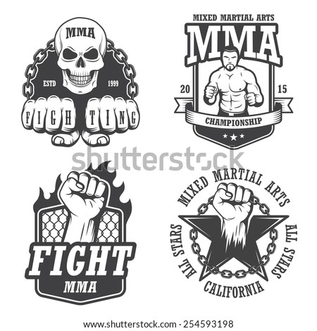 Set of four mma emblems, labels, badge, logos. Monochrome graphic style - stock photo