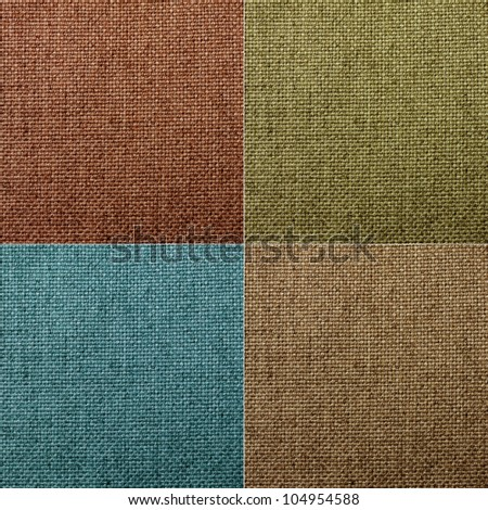 set of four natural canvas textures. - stock photo