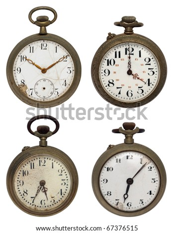 set of four old pocket watches, isolated with clipping path - stock photo