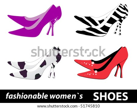 Set of four pairs fashionable women`s shoes. - stock photo