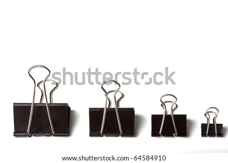 Set of four paper clip isolated on white - stock photo