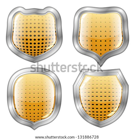 Set of four perforated modern shields with silver frame - stock photo