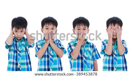 Set of four portrait of asian handsome boy covering his ear mouth nose eye in different poses. Isolated on white background. Negative human emotion, facial expression feeling reaction. Studio shot. - stock photo