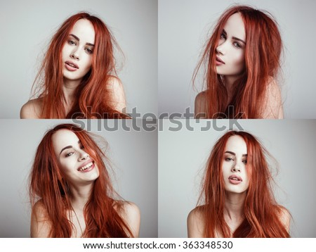 Set of four portraits. Fashion portrait of elegant woman with magnificent hair and awesome lips. Redhead girl. Perfect make-up. Hairstyle. - stock photo